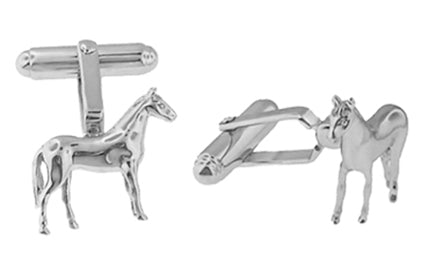 Horse Cufflinks in Sterling Silver - Item: SCL128 - Image: 1