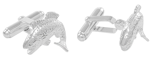Jumping Bass Fish Cufflinks in Sterling Silver - Item: SCL132 - Image: 1