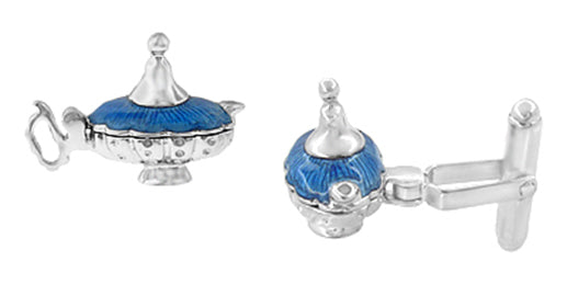 Magic Genie Lamp Movable Cufflinks in Sterling Silver with Blue Enamel - Item: SCL146E - Image: 1