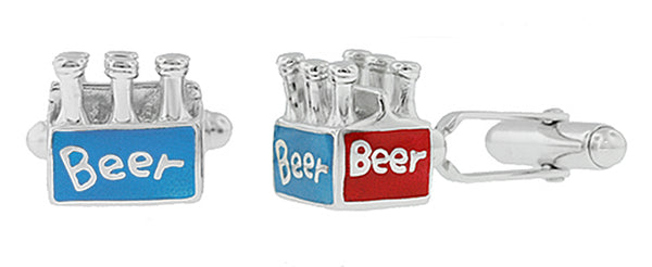 Beer Bottle Cufflinks - 6 Pack of Beer Cufflinks - Solid Silver -  SCL164