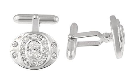 Classic Oval Cufflinks Set with Cubic Zirconia ( CZ ) Gemstones in Solid Sterling Silver - Item: SCL185 - Image: 1