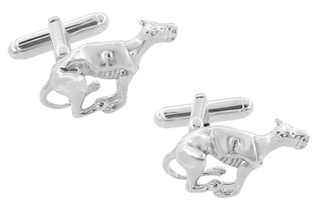 Racing Greyhound Dog Cufflinks in Sterling Silver