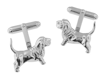 Basset Hound Dog Cufflinks in Sterling Silver