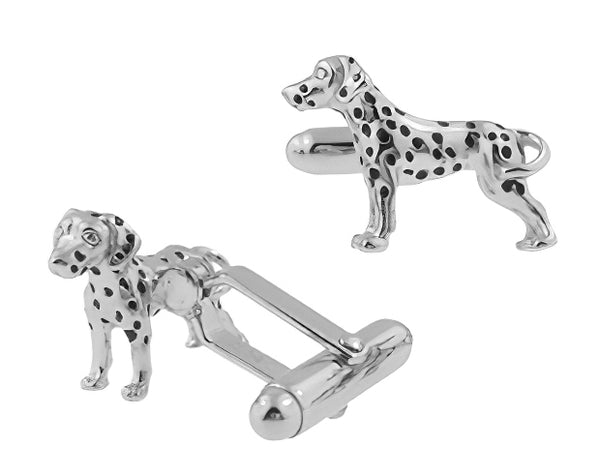Dalmatian Dog Cufflinks - Solid Sterling Silver SCL194