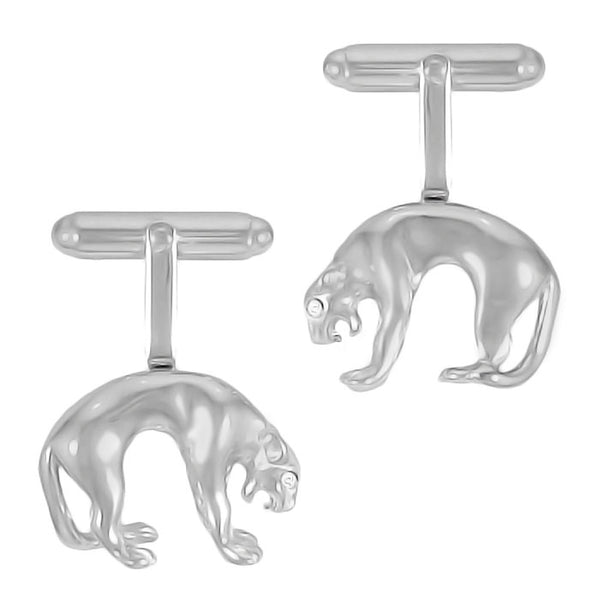 Diamond Eye Panther Cufflinks in Sterling Silver