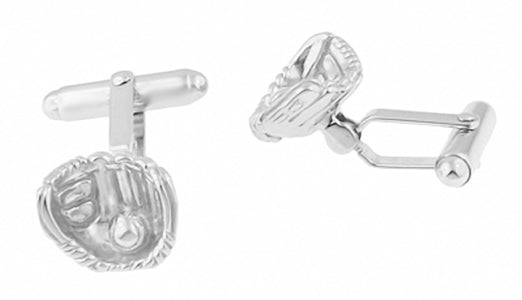 Baseball and Baseball Glove Cufflinks in Sterling Silver - Item: SCL200 - Image: 1