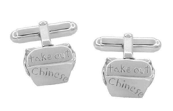 Chinese Take Out Box Cufflinks in Sterling Silver