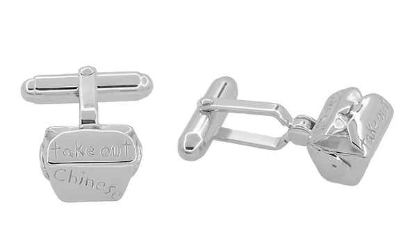 Chinese Take Out Box Cufflinks in Sterling Silver - Item: SCL207 - Image: 1