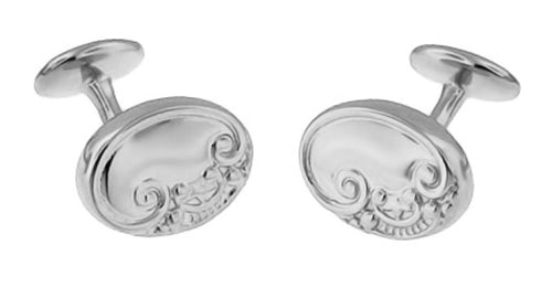 Victorian Scrolls and Fleur-de-Lis Engravable Cufflinks in Sterling Silver - Item: SCL229W - Image: 1