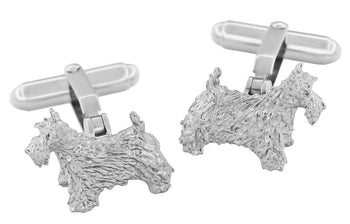 Scottish Terrier Cufflinks in Sterling Silver (Scottie Dog)