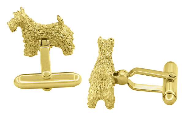Back of Yellow Gold Scottish Terrier Cufflinks