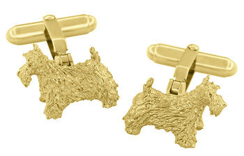 Scottish Terrier Cufflinks in Sterling Silver with Yellow Gold Vermeil (Scottie Dog)