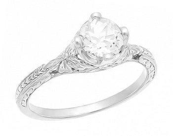 Art Deco Floral Carved Filigree CZ Promise Ring in Sterling Silver