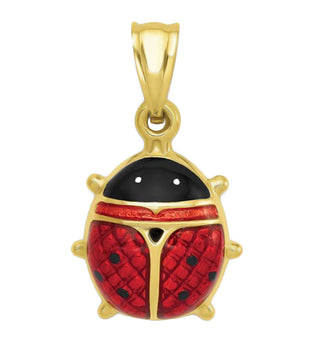 Small Enameled Ladybug Vintage Charm in 14 Karat Gold