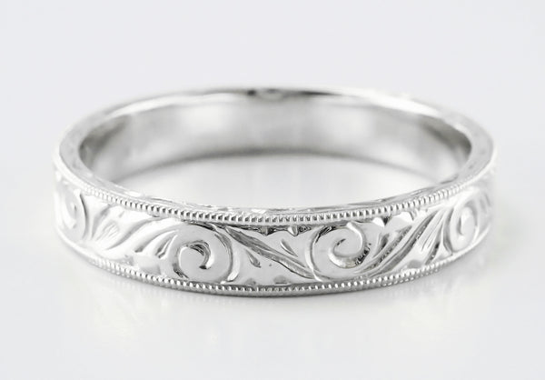 Men's Art Deco Scrolls Engraved Wedding Band in Platinum - Item: WR199MP - Image: 5