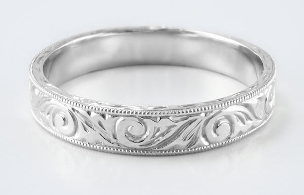 Men's Art Deco Scrolls Vintage Engraved Wedding Band in 14 or 18 Karat White Gold - 4mm Wide - Item: WR199MW14 - Image: 5