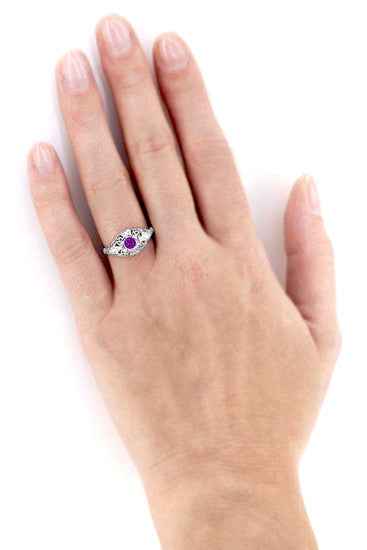 Amethyst and Diamonds Filigree Scroll Dome Edwardian Engagement Ring in 14 Karat White Gold - Item: R139 - Image: 2