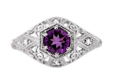 Amethyst and Diamonds Filigree Scroll Dome Edwardian Engagement Ring in 14 Karat White Gold - Item: R139 - Image: 1