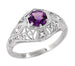 Amethyst and Diamonds Filigree Scroll Dome Edwardian Engagement Ring in 14 Karat White Gold