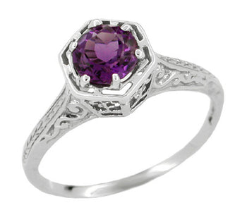Hexagon Art Deco Amethyst Engraved Filigree Engagement Ring in 14 Karat White Gold