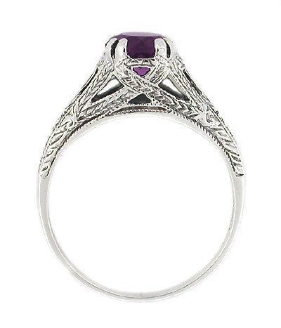 Art Deco Filigree Engraved Amethyst Promise Ring in Sterling Silver - Item: SSR2 - Image: 1