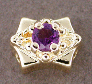 Amethyst Set Slide in 14 Karat Gold