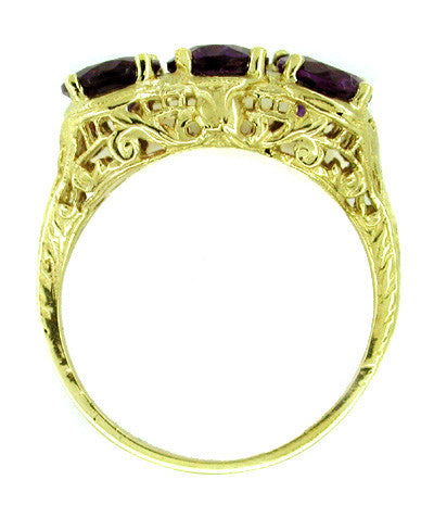 Edwardian Trio Amethyst Filigree Ring in 14 Karat Yellow Gold - Item: R159 - Image: 1