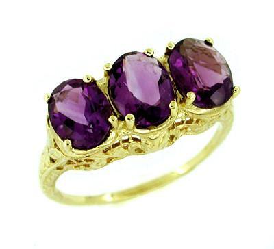 Edwardian Three Stone Filigree Vintage Amethyst Ring in Yellow Gold - Oval Amethyst - R159