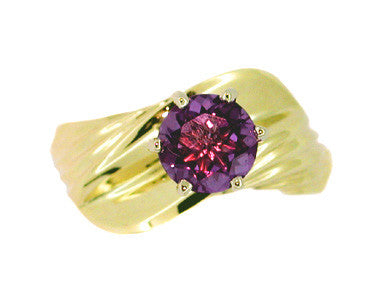 Amethyst Wave Ring in 14 Karat Gold