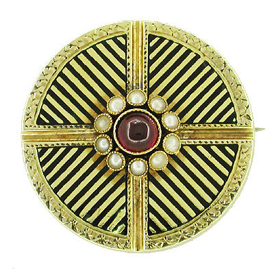 Victorian Garnet and Seed Pearl Circle Antique Brooch in 14 Karat Gold