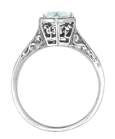 Hexagon Art Deco 3/4 Carat Aquamarine Engraved Filigree Ring in 14K White Gold - Item: R180 - Image: 1