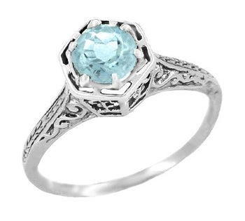 Hexagon Art Deco 3/4 Carat Aquamarine Engraved Filigree Ring in 14K White Gold
