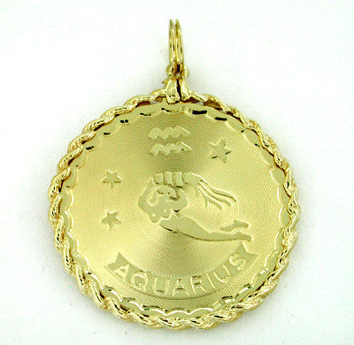 Aquarius Medallion Pendant in 14 Karat Gold