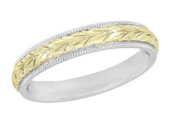 Art Deco Mixed Metals Millgrain Edge Hand Engraved Wheat Wedding Ring in 14 Karat Two Tone White and Yellow Gold