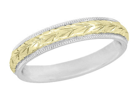 Art Deco Mixed Metals Millgrain Edge Hand Engraved Wheat Wedding Ring In 14  Karat Two Tone