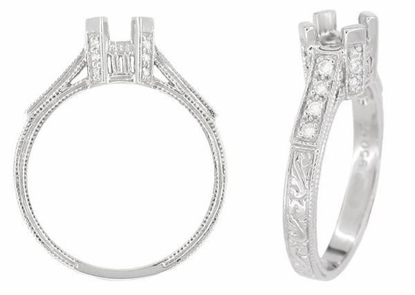 Art Deco 1/2 Carat Diamond Filigree Castle Engagement Ring Mounting in 18 Karat White Gold - Item: R396 - Image: 1