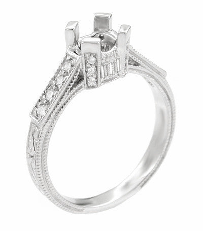 Art Deco 1/2 Carat Diamond Filigree Castle Engagement Ring Mounting in 18 Karat White Gold