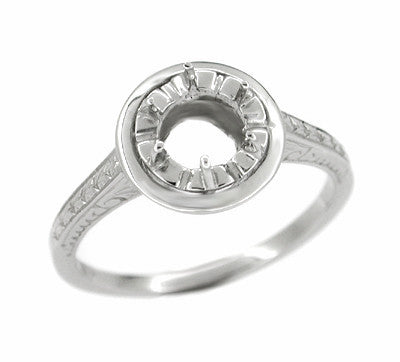 Art Deco 1/2 Carat Platinum Halo Illusion Engagement Ring Setting