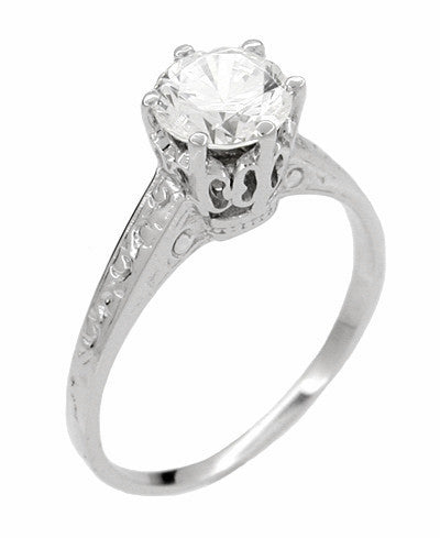 Art Deco 1 Carat Crown Filigree Engagement Ring Setting 18K White Gold - Antique Replica - Item: R199 - Image: 2