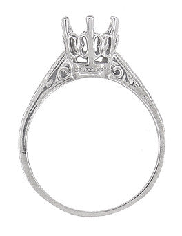 Art Deco 1 Carat Crown Filigree Engagement Ring Setting 18K White Gold - Antique Replica - Item: R199 - Image: 1