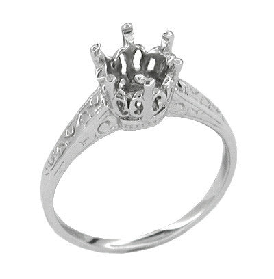Art Deco 1 Carat Crown Filigree Engagement Ring Setting 18K White Gold - Antique Replica