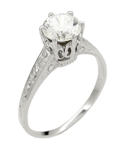 Vintage Replica 1 Carat Crown Art Deco Filigree Platinum Engagement Ring Mount - Item: R199P - Image: 2