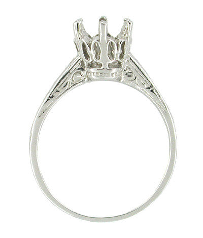 Vintage Replica 1 Carat Crown Art Deco Filigree Platinum Engagement Ring Mount - Item: R199P - Image: 1
