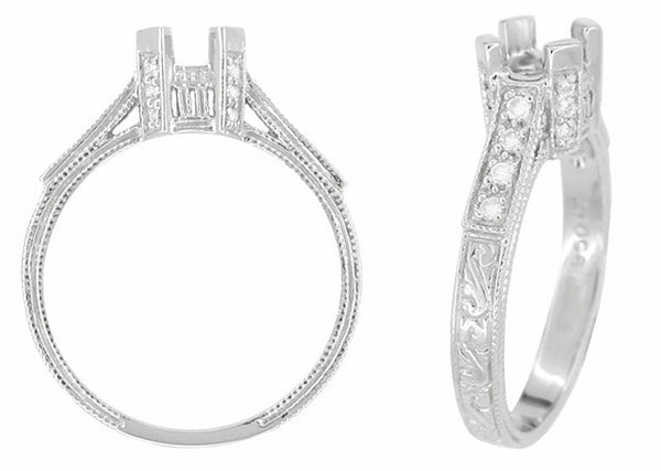 Art Deco Platinum Castle Filigree Engagement Ring Mounting for a 1/2 Carat Diamond - Item: R240 - Image: 1