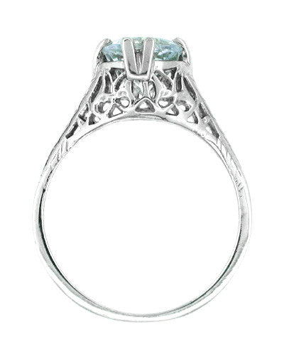 Art Deco Aquamarine Trellis Filigree Engagement Ring in 14 Karat White Gold - Item: R171 - Image: 1