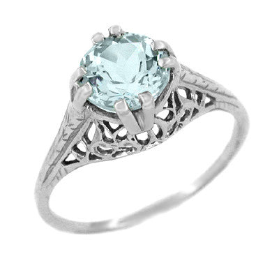 Art Deco Aquamarine Trellis Filigree Engagement Ring in 14 Karat White Gold