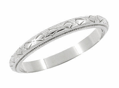 Art Deco Bows Carved Vintage Wedding Ring in 18K White Gold