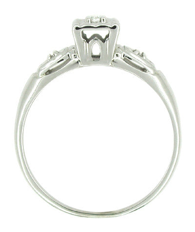 Petite Retro Moderne Lucky Clover Diamond Antique Engagement Ring in 14K White Gold - Item: R218 - Image: 1