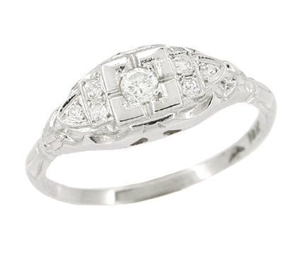 18 Karat White Gold Art Deco Square Frame Antique Diamond Engagement Ring