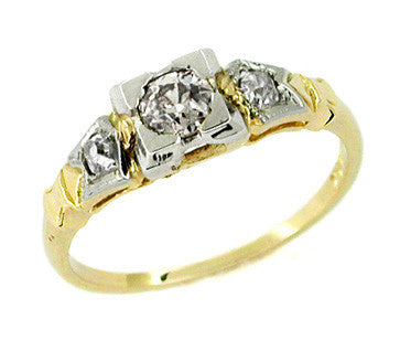 Frederique Art Deco Antique Diamond Engagement Ring in 14 Karat Yellow Gold